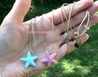 Ceramic sea star necklace/ pink/ blue/ waxed cord/ adjustable/ summer/ sea/ gift/ for her/ jewelry