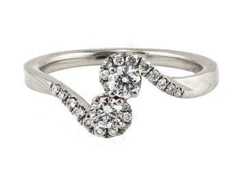 0.38ct Prong Pavé Diamonds in 14K White Gold Burlesque Engagement Ring - CUSTOM MADE