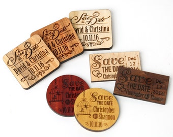 """Solid Wood Save the Date Wedding Magnets. 2"""" magnets wedding favors, laser engraved save the dates. Natural Wood magnets."""