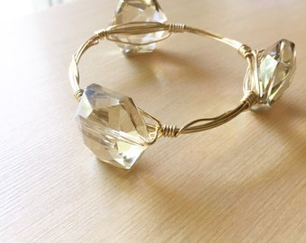 Golden Hexagon Crystal Wire Bangle, Bangle, Wire-wrapped bangle, Crystal Bead Bracelet, Gold Wire Bangle, Bead Bangle, Bangle Stack