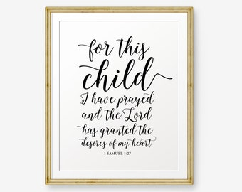 For This Child I Have Prayed Printable, 1 Samuel 1:27 Bible Verse Printable