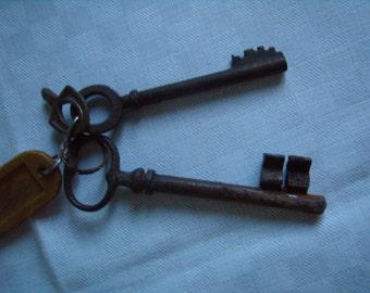 Skeleton key Antique French x 2, large key, about 1900
