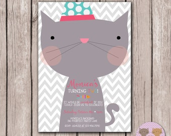 PRINTABLE- Kitty Cat Invitation - Cat Invitation- Kitty Cat Party - 5x7 JPG