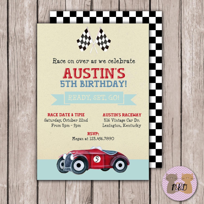 PRINTABLE- Vintage Race Car Birthday Invite- Race Car Birthday ...