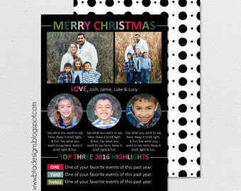 Year in Review Infographic Card, Christmas Card, Holiday Card, New Year's Card, Photo Card, Digital Design, Holiday Card #16