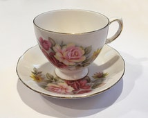 Vintage Queen Anne Bone China Cup and Saucer Set England Pink Roses Flowers 8517 Tea Party