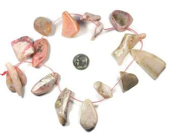 Pink Peruvian Opals, Natural Opals, Freeform Cut, 40 mm to 20 mm