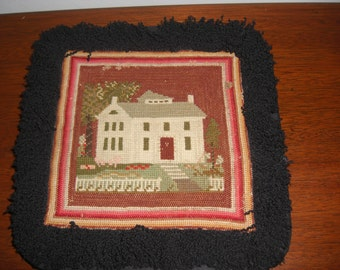 Vtg Framed Needlepoint Cottage w/fringed border