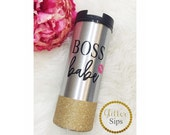 Boss Babe Stainless Steel Glitter To Go Cup // Boss // Babe // Glitter Cup // Coffee Cup // Glitter Dipped // Caffeine// Lips