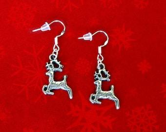 50% SALE Reindeer Earrings..Deer Earrings..Rudolph The Red Nose Reindeer Jewelry..Silver Christmas Earrings..Christmas Jewelry FREE SHIPPING