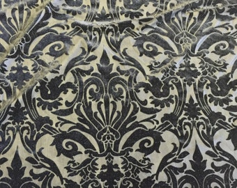 Black Damask Burnout 4 Way Stretch Velvet Fabric - Sold By The  Yard - 60""