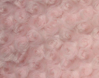 "Swirl Rose Bud Fluff Minky Fur Fabric - Sold By The Yard - 58""/ 60"" - Light Pink"