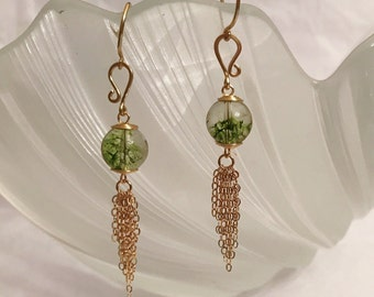 Green phantom quartz earrings handmade with 14k gold filled chain and gold wire