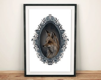 Fox print. Woodland creatures illustration. Fox illustration. Foxes. Vintage Portraits. Hand-painted frame. Watercolor illustration.