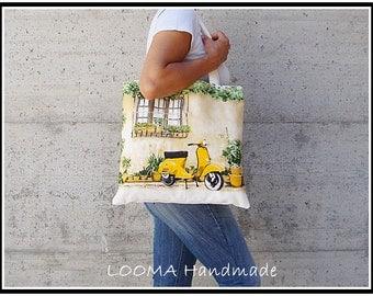 Canvas bag, bag with yellow WaSP Tote bag canvas cotton Shopping bag Purse Tote bag Nice bag Beach bag Summer bag