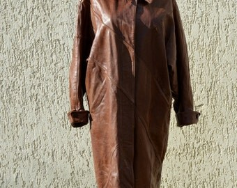 Long leather coat | Etsy
