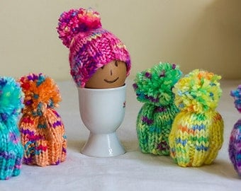 Knitted Egg Cosies set of 6 brightly colored egg cosies, Yellow, Orange, Apple, Grape, Lemon and Cherry, Easter Egg Cosy, egg warmers