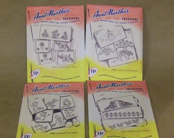 VINTAGE 'Aunt Martha's' Hot Iron Transfers for Needlework, Textile Painting and Other Art Crafts, #3498, #3537, #3549, #3607