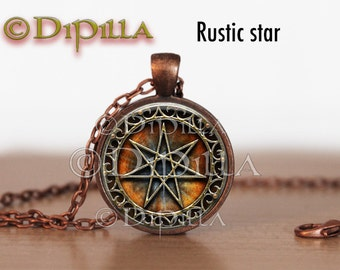 Elven Star or Faerie Star Septagram Pendant with Matching Chain in 3Design Choices
