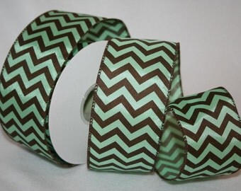 "2.5"" x 20yds PISTACHIO CHEVRON Wired Edge Ribbon / 90785"