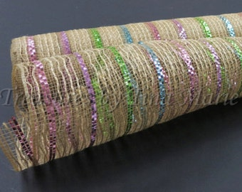 "10""x 10 yds Natural Burlap Mesh w/ Pink Lavender Lime + Light Blue thin Metallic Stripes / XB95410-30"