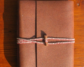 Brown leather limp binding notebook medieval style blank pages