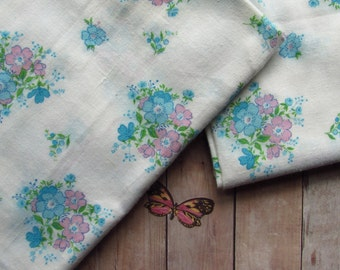 Dainty Vintage Fabric - Pink and Blue Flowers - 2 Pieces Each 1 Yard