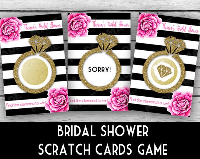 BRIDAL Shower Scratch Card Game - Pink Peonies, Scratch Off Cards, Black and White Stripes, Future Mrs.
