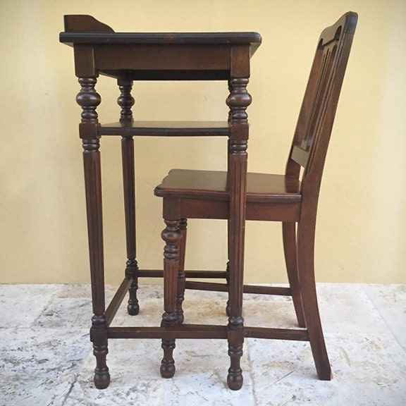 Vintage Mahogany Telephone Table And Chair Set