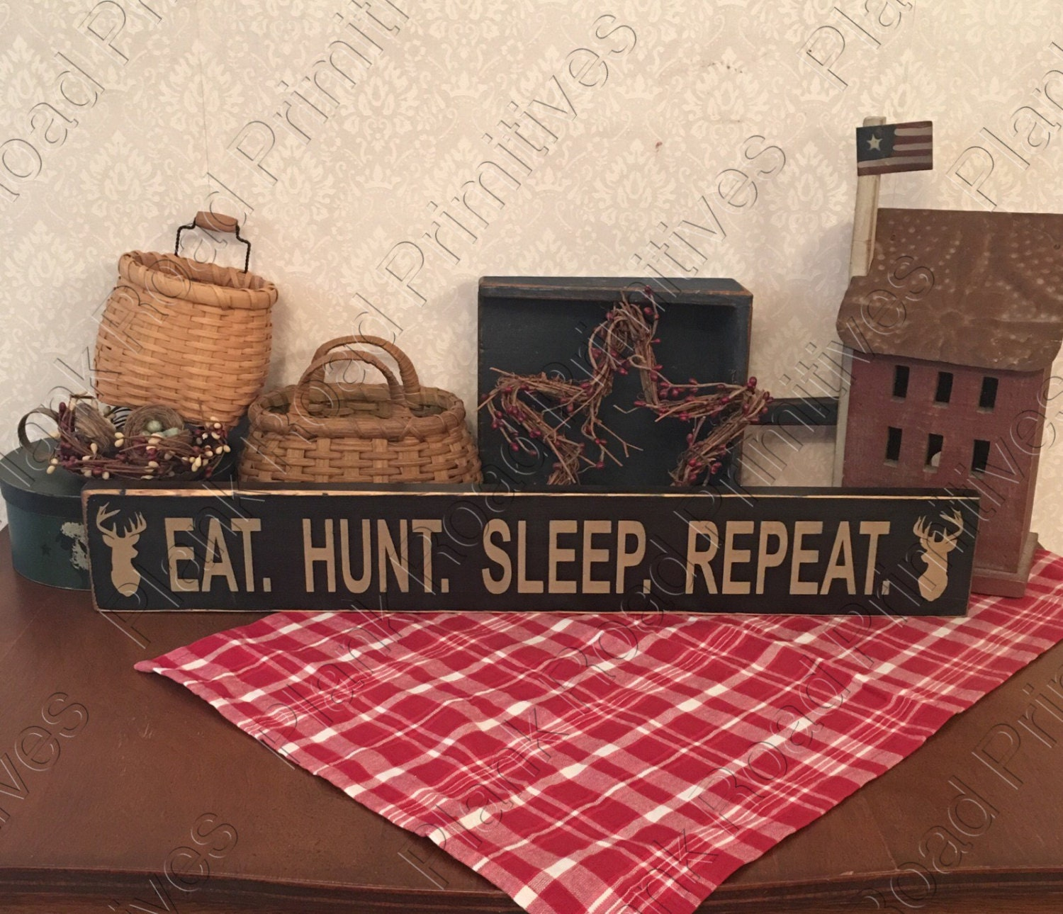 Stencil Eat Hunt Sleep Repeat 24 Quot X 3 5 Quot Reusable