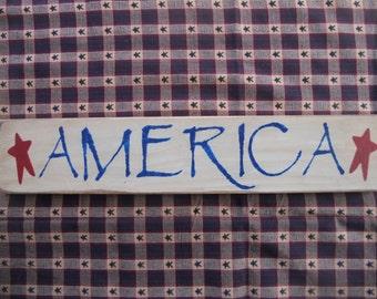 AMERICA       Wood Sign