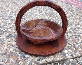 Floral wooden basket