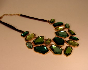 SALE ** 20% Off Vintage JOAN RIVERS Bib Necklace Statement Piece with Shades of Green Mirrored Stones. The Necklace is signed & adjustable.