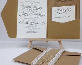 Kraft burlap and lace pocket fold wedding invitation pack