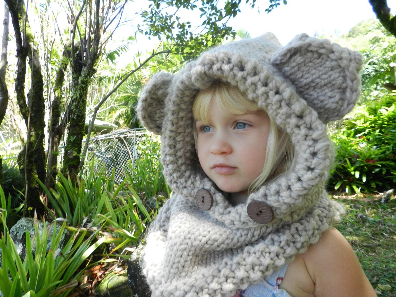 Animal Cowl Knitting Pattern : Adult Animal Hood Knit Bear Hood Knitted Fox Cowl Hooded