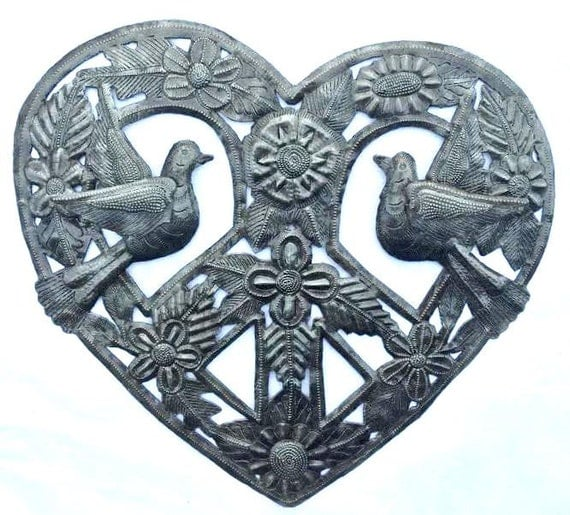 "Love and Peace, Haitian Metal Recycled Outdoor Art Wall Sculpture, 12"" x 12"""
