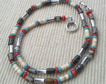 Agate, Coral, Shell, n Turqoise Necklace
