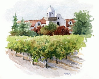 Napa Vineyard Art Print - Watercolor Painting - Signed by Artist DJ Rogers - Wall Decor