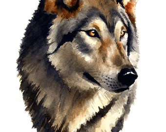 Wolf Portrait Art Print - Watercolor Painting - Signed by Artist DJ Rogers - Wildlife - Wall Decor