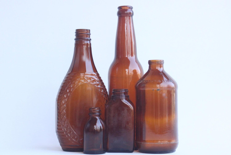 Vintage brown glass bottles for Retro glass bottles