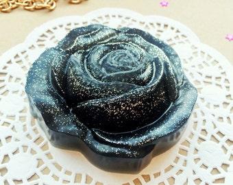 Black rose soap, rose soap, flower soap, roses soap, chocolate soap, glitter soap, artisan soap, gothic soap, goth soaps, halloween soap