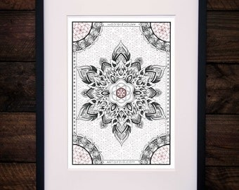 "A4  Print  ""Seed to Flower'   (unframed)  //  Sacred Geometry //  Flower of Life //  Mandala  //  Dotwork  //"