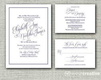 Classic and Elegant Print-Ready Wedding Invitation Set! 3-Piece Printable Set Include Invitation, Response/RSVP and Reception Details Cards!