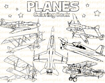 Plane Coloring Book Printable Airplane Pages Vintage Planes Aeroplanes Bithday Party Supplies Printables Fun Digital