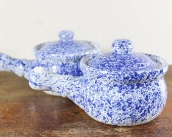 Set of 2 Handled Soup Bowls Blue Spongeware - Covered Bowls