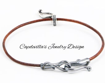 Sterling Silver and Brown Leather Bracelet
