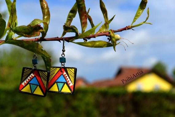 Afrocentric earrings Decoupage earrings Summer earrings Wooden earrings Wood jewelry Afrocentric jewelry African jewelry Colorful earrings