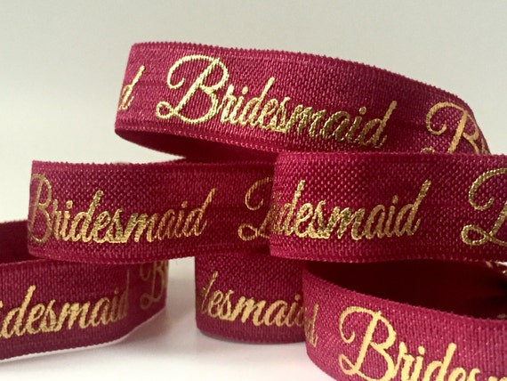 Maroon and Gold Bridesmaid Hair Tie-Set of 4
