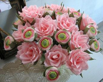 Light pink paper roses pink buds ranunculus, 2 dozen paper flower, Wedding bouquet, Paper flower bouquet, Home decor, Gift anniversary rose