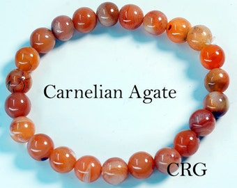 Round 6-7mm CARNELIAN AGATE Beads Stretch Bracelet (BR11DG)